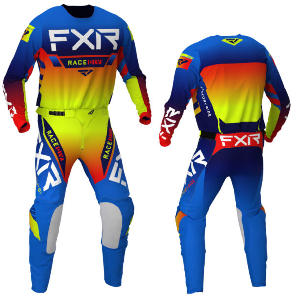 2021 fxr youth pro-stretch kit combo blue/hi-vis/red - helium bluehivisred combo