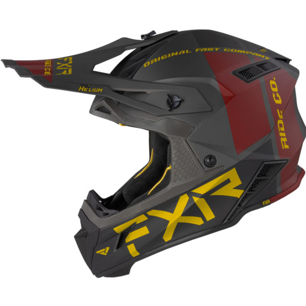 2021 FXR Helium RIDE CO Helmet Charcoal/Gold/Rust - HeliumRideCo Helmet BlackRustGold 210602 0862 left