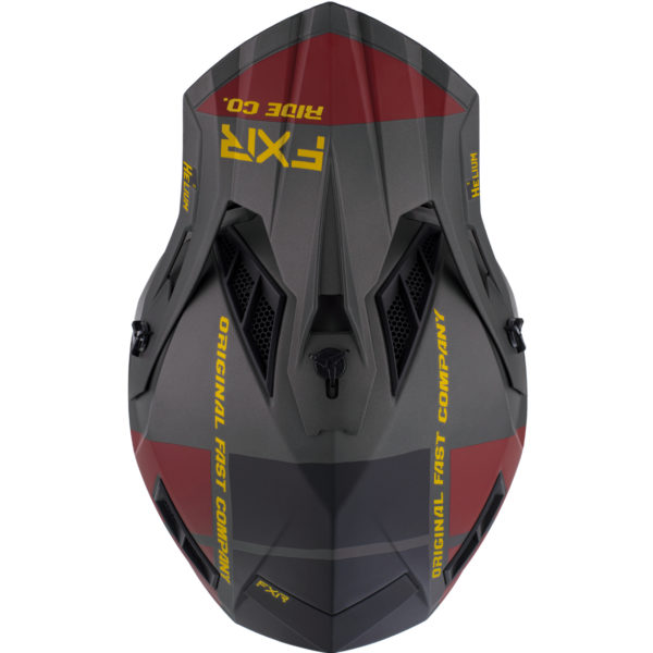 2021 FXR Helium RIDE CO Helmet Charcoal/Gold/Rust - HeliumRideCo Helmet BlackRustGold 210602 0862 top