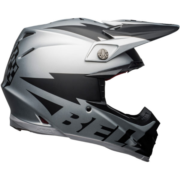 Bell moto-9 carbon flex breakaway helmet silver/black - bell moto 9 flex dirt helmet breakaway matte silver black right