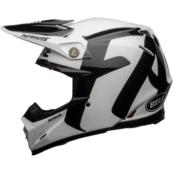 Bell Moto-9 Carbon Flex Fasthouse Newhall Helmet White/Black - bell moto 9 flex dirt helmet fasthouse newhall gloss white black left