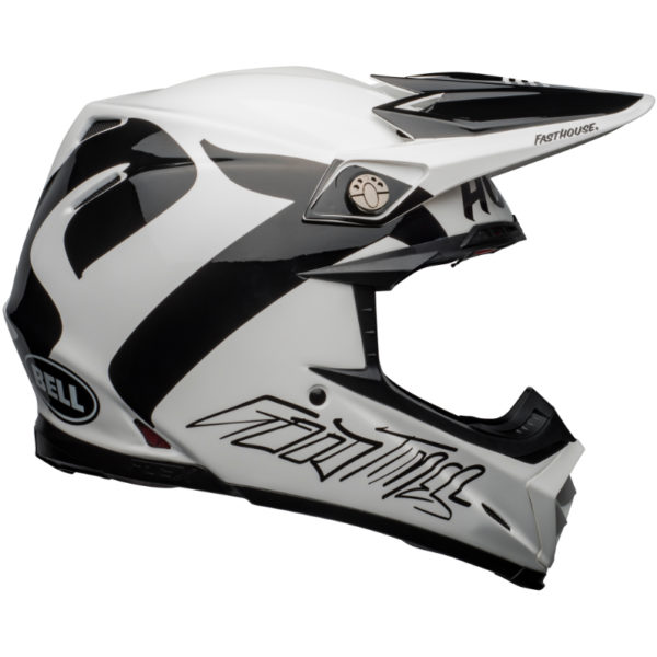 Bell Moto-9 Carbon Flex Fasthouse Newhall Helmet White/Black - bell moto 9 flex dirt helmet fasthouse newhall gloss white black right