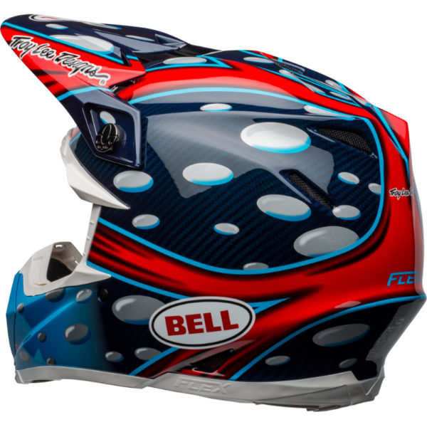 Bell moto-9 carbon flex mcgrath showtime replica helmet blue/red/black - bell moto 9 flex dirt helmet mcgrath replica gloss blue red black back left