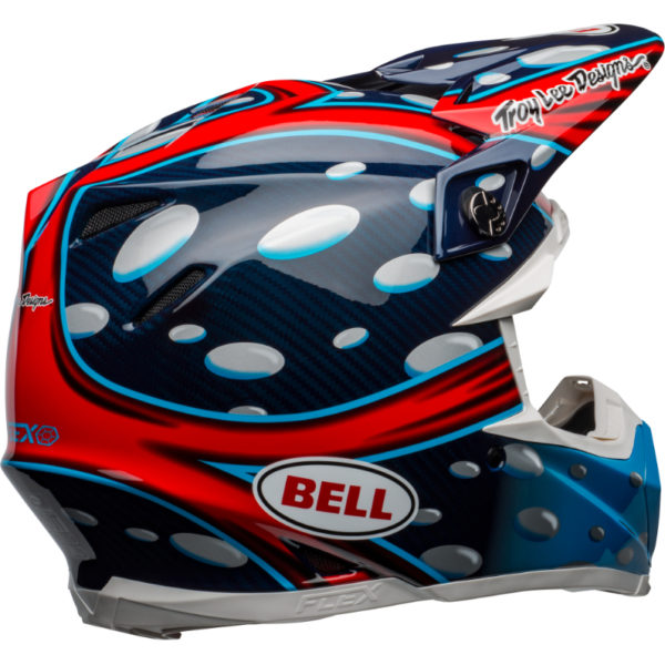 Bell moto-9 carbon flex mcgrath showtime replica helmet blue/red/black - bell moto 9 flex dirt helmet mcgrath replica gloss blue red black back right
