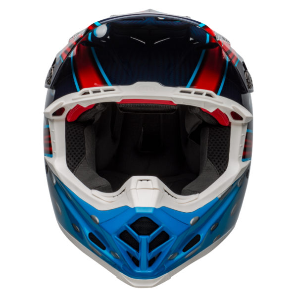 Bell moto-9 carbon flex mcgrath showtime replica helmet blue/red/black - bell moto 9 flex dirt helmet mcgrath replica gloss blue red black front