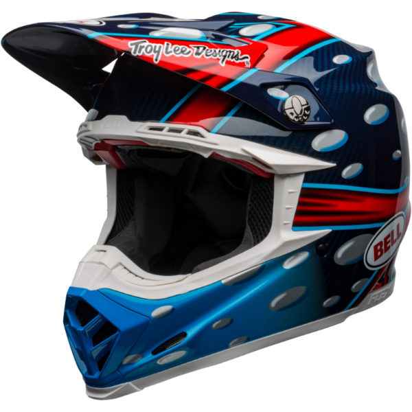 Bell moto-9 carbon flex mcgrath showtime replica helmet blue/red/black - bell moto 9 flex dirt helmet mcgrath replica gloss blue red black front left