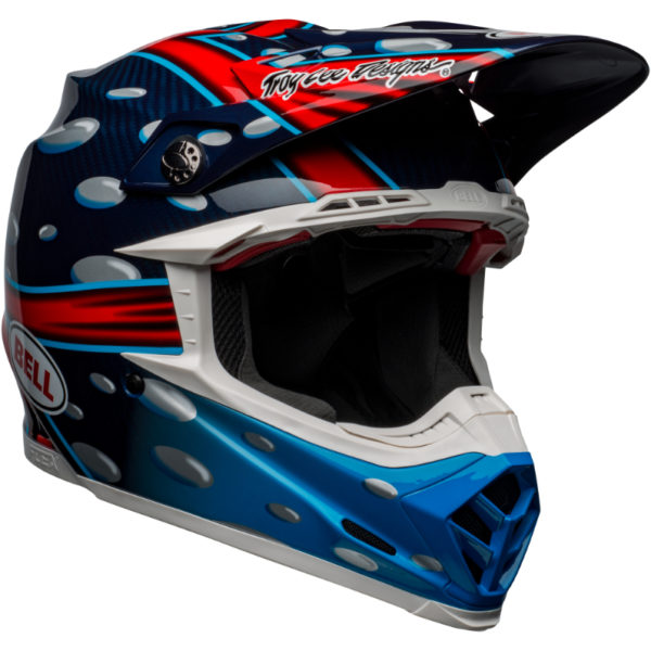 Bell moto-9 carbon flex mcgrath showtime replica helmet blue/red/black - bell moto 9 flex dirt helmet mcgrath replica gloss blue red black front right