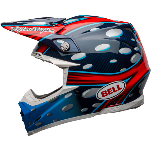 Bell moto-9 carbon flex mcgrath showtime replica helmet blue/red/black - bell moto 9 flex dirt helmet mcgrath replica gloss blue red black left