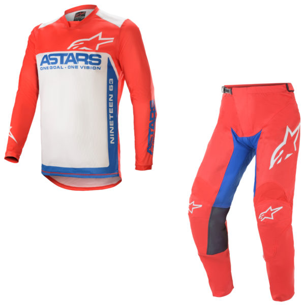2021 alpinestars racer supermatic kit combo bright red/blue/off white - a37615213172c