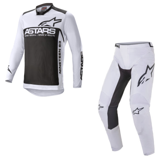 2021 alpinestars racer supermatic kit combo light grey/black - a37615219210c