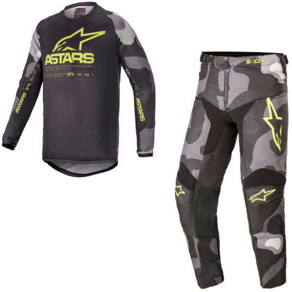 2021 Alpinestars YOUTH Racer TACTICAL Kit Combo Grey Camo/Yellow Fluo - A37712219155c