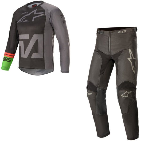2021 Alpinestars YOUTH Racer COMPASS Kit Combo Black/Dark Grey/Green Fluo - A37721211116c