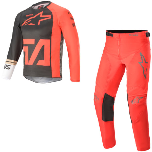 2021 Alpinestars YOUTH Racer COMPASS Kit Combo Anthracite/Red Fluo/White - A37721211382c
