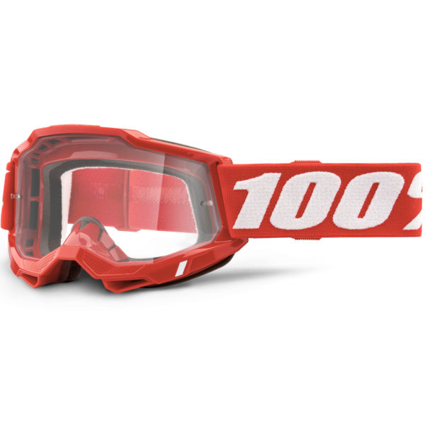 2021 100% accuri 2 goggle neon red - clear lens - 50221 101 03 1