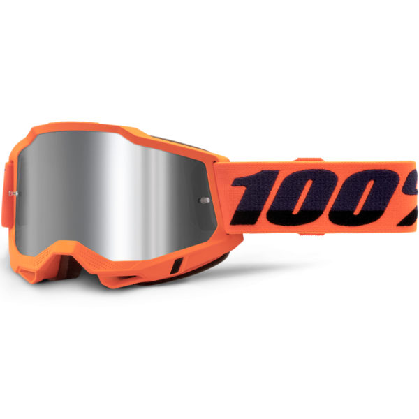 2021 100% accuri 2 goggle neon orange - silver mirror lens - 50221 252 05