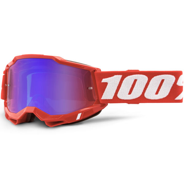 2021 100% accuri 2 goggle neon red - red/blue mirror lens - 50221 254 03