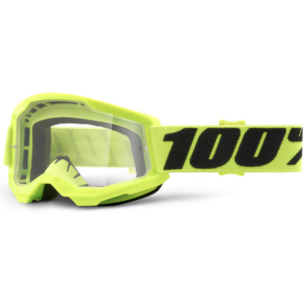 2021 100% strata 2 youth goggle fluo yellow - clear lens - 50521 101 04