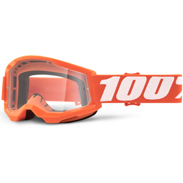 2021 100% Strata 2 YOUTH Goggle Fluo Orange - Clear Lens - 50521 101 05