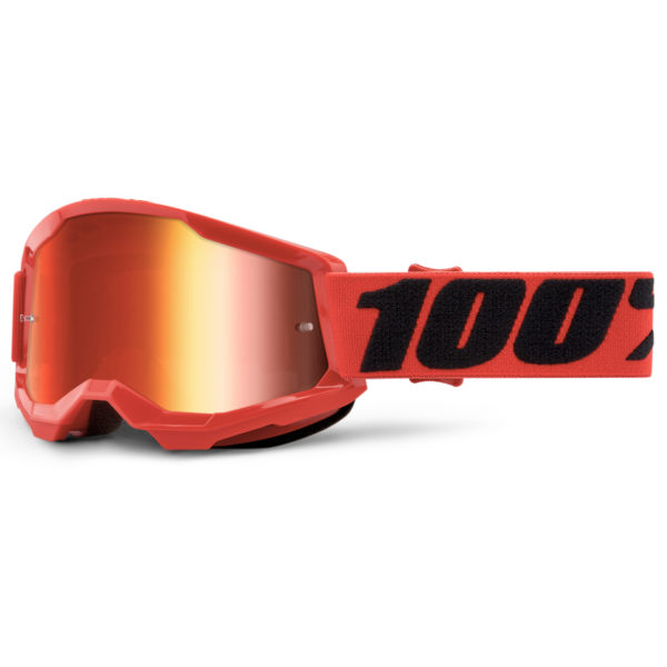 2021 100% strata 2 youth goggle red - red mirror lens - 50521 251 03
