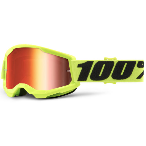 2021 100% strata 2 youth goggle fluo yellow - red mirror lens - 50521 251 04