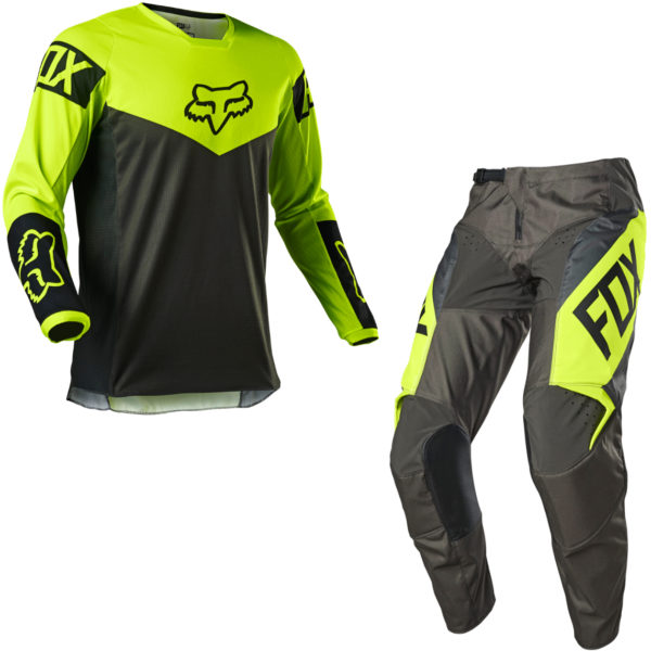 2021 Fox YOUTH 180 REVN Kit Combo Fluorescent Yellow - 25762 130 c