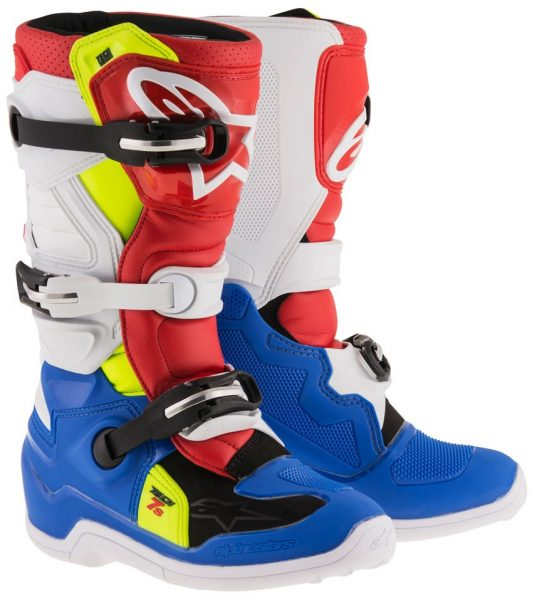 2017 Alpinestars Tech 7s YOUTH Boot Blue/White/Red/Yellow Flo