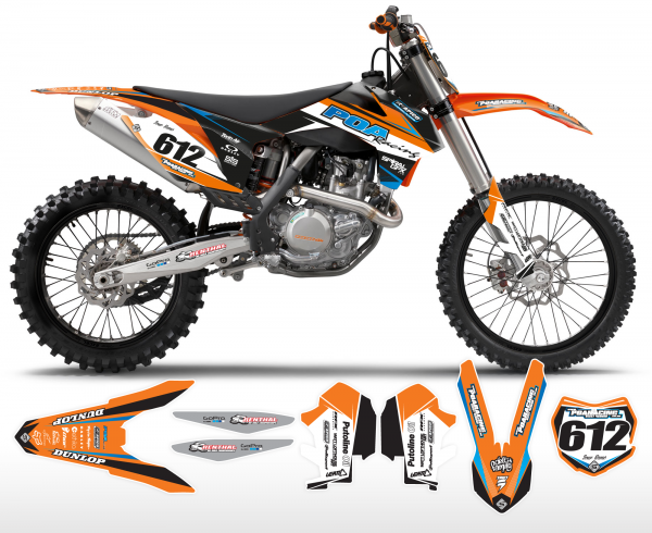 POA Racing KTM Team Graphics Kit Complete With Custom Backgrounds