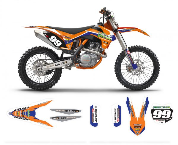 2015 Verde Sports Racing KTM Team Graphics Kit Complete With Custom Backgrounds