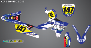 2016 Geartec Yamaha Team Graphics Kit Complete With Custom Backgrounds