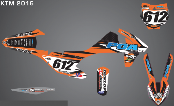 2016 POA Racing Spiral KTM Team Graphics Kit Complete With Custom Backgrounds